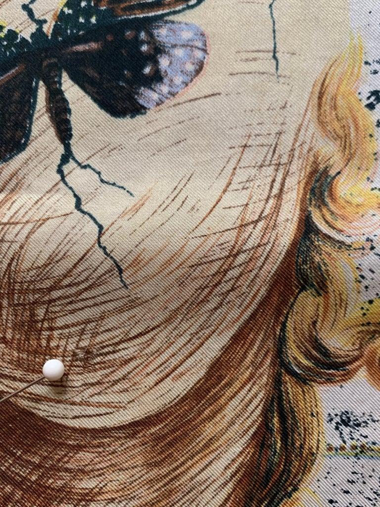 Salvador Dali 1950s Surrealist Silk Moth Scarf  For Sale 3