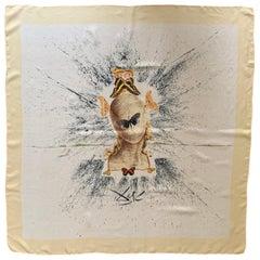 Salvador Dali 1950s Surrealist Silk Moth Scarf