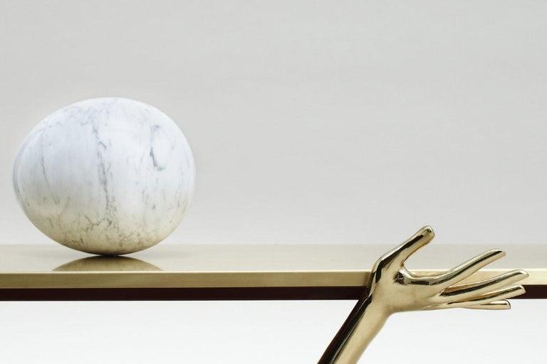 Modern Salvador Dali Contemporary Brass Carrara Marble Low Table, Sculpture For Sale