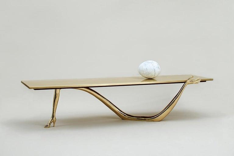 Spanish Salvador Dali Contemporary Brass Carrara Marble Low Table, Sculpture For Sale