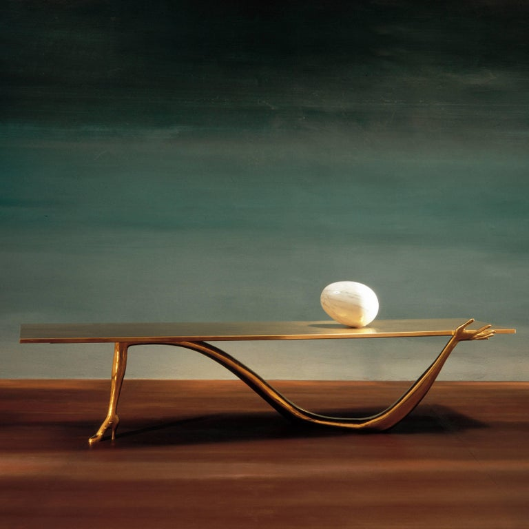 Salvador Dali Contemporary Brass Carrara Marble Low Table, Sculpture In Good Condition For Sale In Barcelona, Barcelona