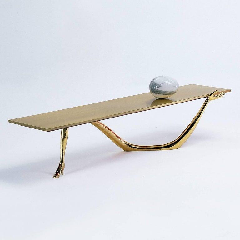 Salvador Dali Contemporary Brass Carrara Marble Low Table, Sculpture For Sale 1