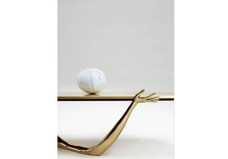 Salvador Dali Contemporary Brass Carrara Marble Low Table, Sculpture For Sale 2