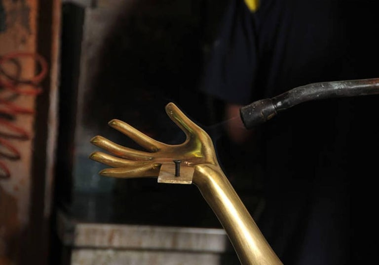 Salvador Dali Contemporary Brass Carrara Marble Low Table, Sculpture For Sale 3