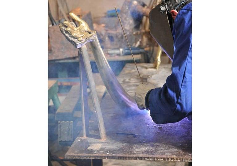 Salvador Dali Contemporary Brass Carrara Marble Low Table, Sculpture For Sale 4