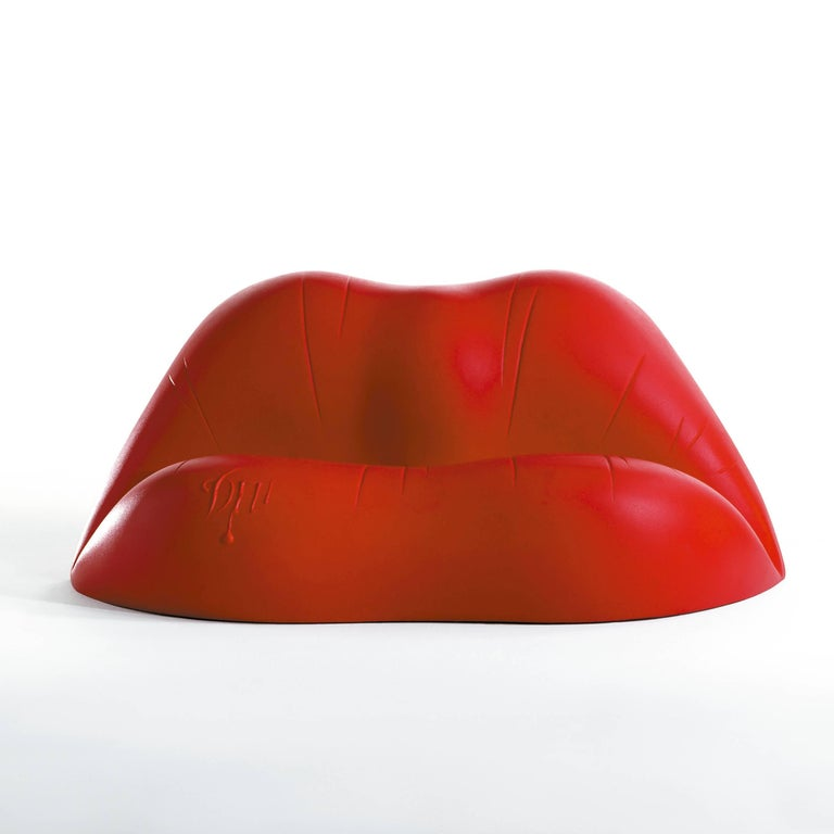 Dalilips designed by Salvador Dali for BD design.  Two-seat sofa made of polyethylene with rotational moulding process. Color red.  Measures: 100 x 170 x 73 H cm.  Is the famous sofa in the shape of a mouth which the artist created together