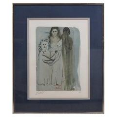 Salvador Dali Divine Comedy Woodcut Signed Engraving Purgatory Portrait 16