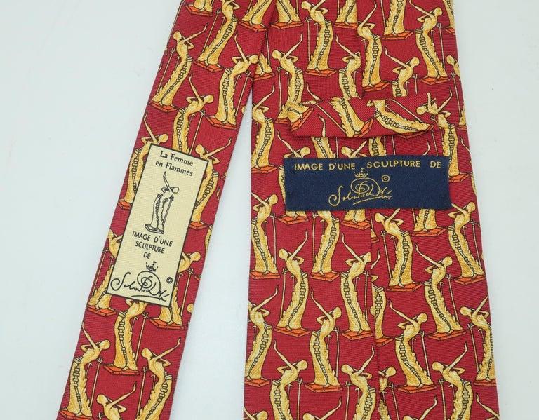 Men's Salvador Dali Italian Silk Necktie, La Femme En Flammes For Sale