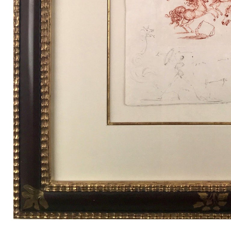 This piece is a unique mixed media work comprised of an etching and ink drawing on Chinois ancien paper by Salvador Dali, done in 1967.  It is hand signed twice within the drawing and dated '1967'.  It is inscribed