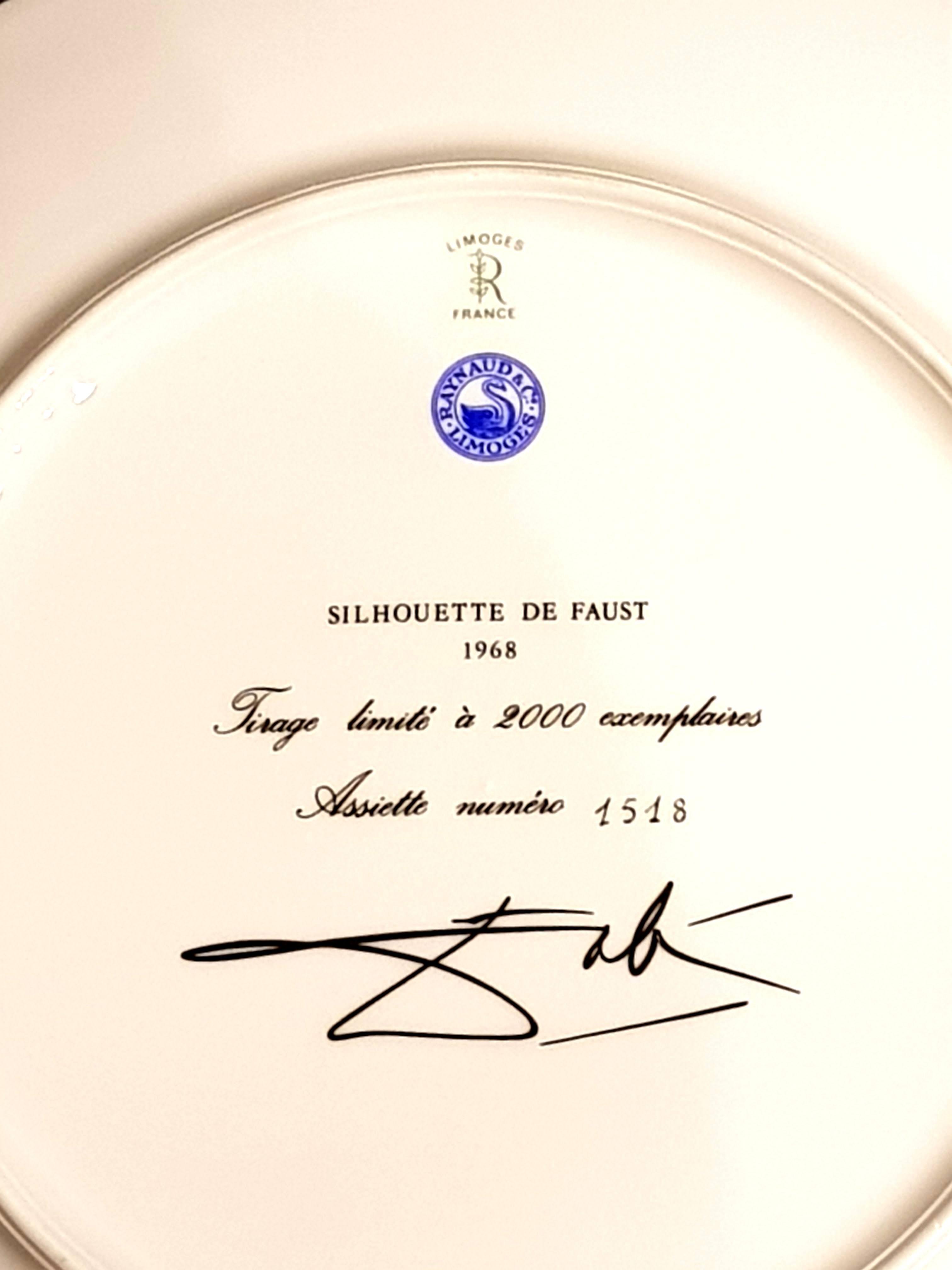 after) Salvador Dali - Faust - Limoges Porcelain Blue and Gold ...