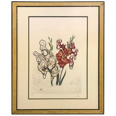 Salvador Dali Original Limited Edition Signed Lithograph Pirate's Gladioli, 1972
