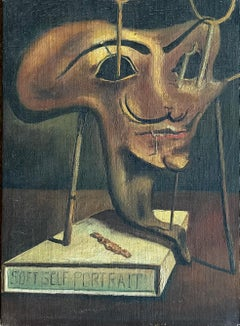 Mid 20th century Surrealist Oil Painting - The Mask with the Moustache