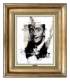 Salvador Dali Original Gouache Painting Signed Self Portrait Surreal Framed Art