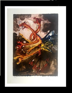 """"""" L´Hydre"""" lithograph certificate painting"""