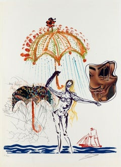 Anti-Umbrella w/ Atomized Liquid, Limited Edition Litho & Collage, Salvador Dali