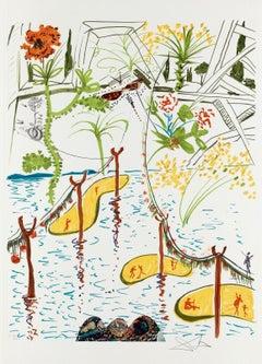 Biological Garden, Limited Edition Lithograph & Collage, Salvador Dali