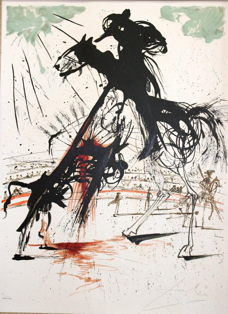 Bullfight No. 5 is a signed limited edition ( 60/300 ) original lithograph by Salvador Dali from the Taureaumachie Suite of five original lithographs. Published by Phyllis Lucas 1966. The Matador de toros ( Toreno in Spanish ), who is the