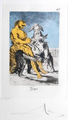 Capricho de Goya n°63 - Héliogravure and Pochoir - 1977