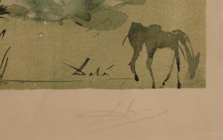 Carmen, Framed Lithograph by Salvador Dali - Brown Landscape Print by Salvador Dalí