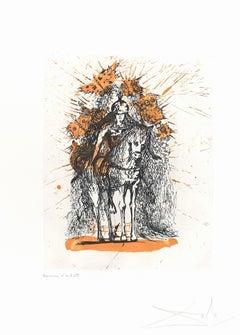 Cavalier casqué aux Papillons - Original Etching by S. Dali - 1971
