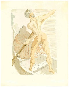 Charon - Original Woodcut Print by Salvador Dalì - 1963