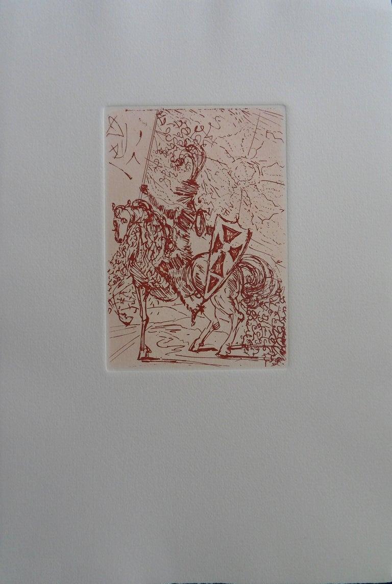 Cinq portraits Espagnols : El Cid - Original etching, 1966 - Print by Salvador Dalí