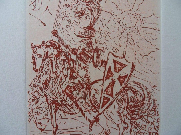 Salvador Dali (1904-1989)  Cinq portraits Espagnols : El Cid, 1966  Original  etching on vellum paper  Printed signature in the plate  Size : 15 x 11