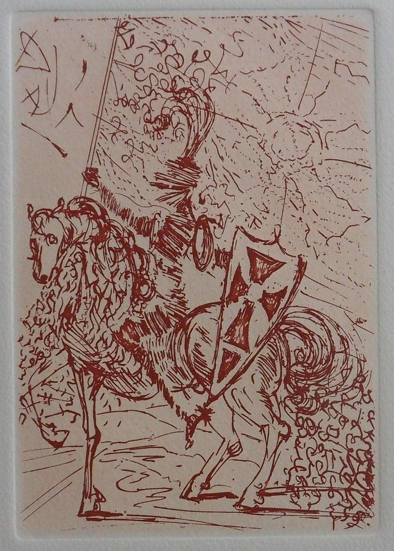 Salvador Dalí Figurative Print - Cinq portraits Espagnols : El Cid - Original etching, 1966