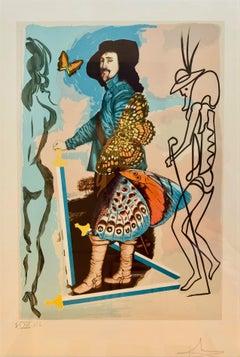 Courtier (Five of Swords), Surrealist Lithograph