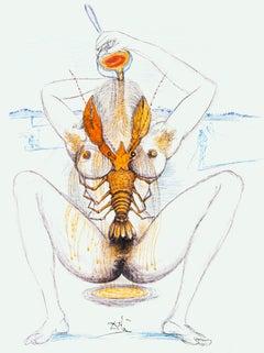 Dali Illustrates Casanova - Plate 3 - Original Lithograph by S. Dalì - 1980