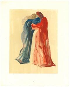 Dante and Beatrice - Original Woodcut Print by Salvador Dalì - 1963