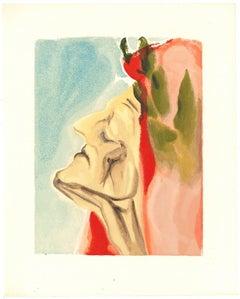 Dante in Doubt - Original Woodcut by Salvador Dalì - 1963