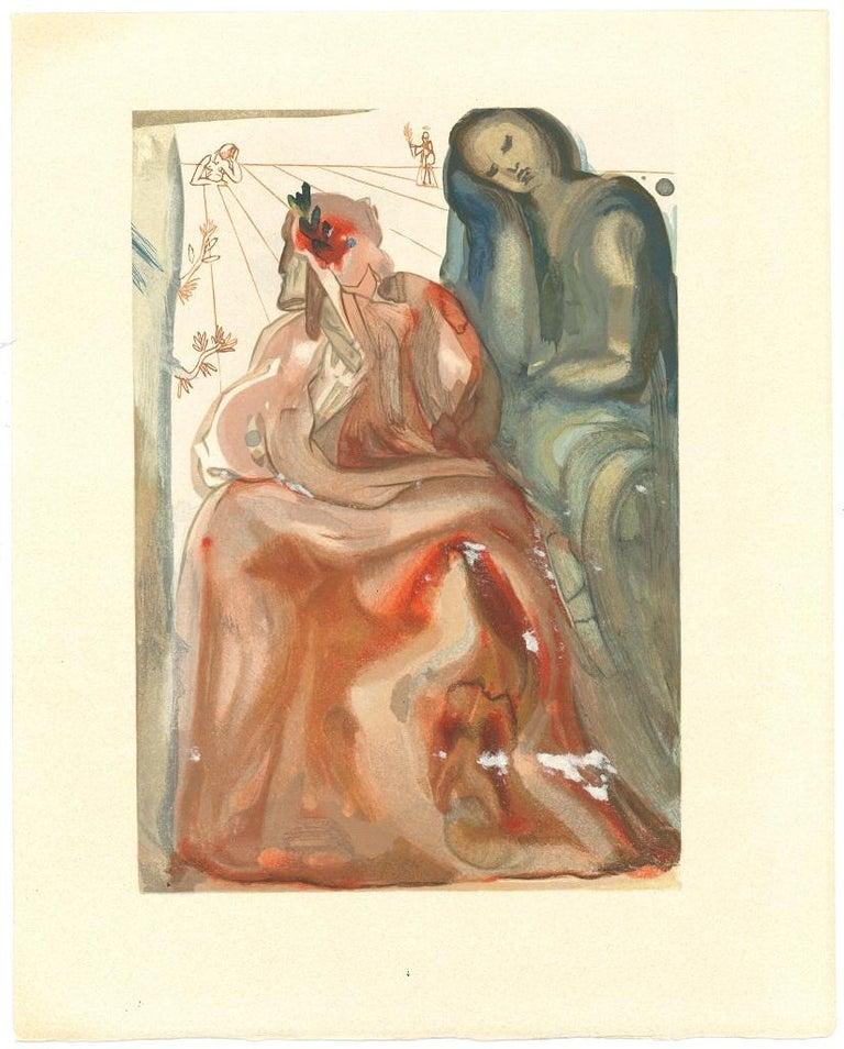 Salvador Dalí Figurative Print - Dante Re-Awakes - Original Woodcut Print Salvador Dalì - 1963