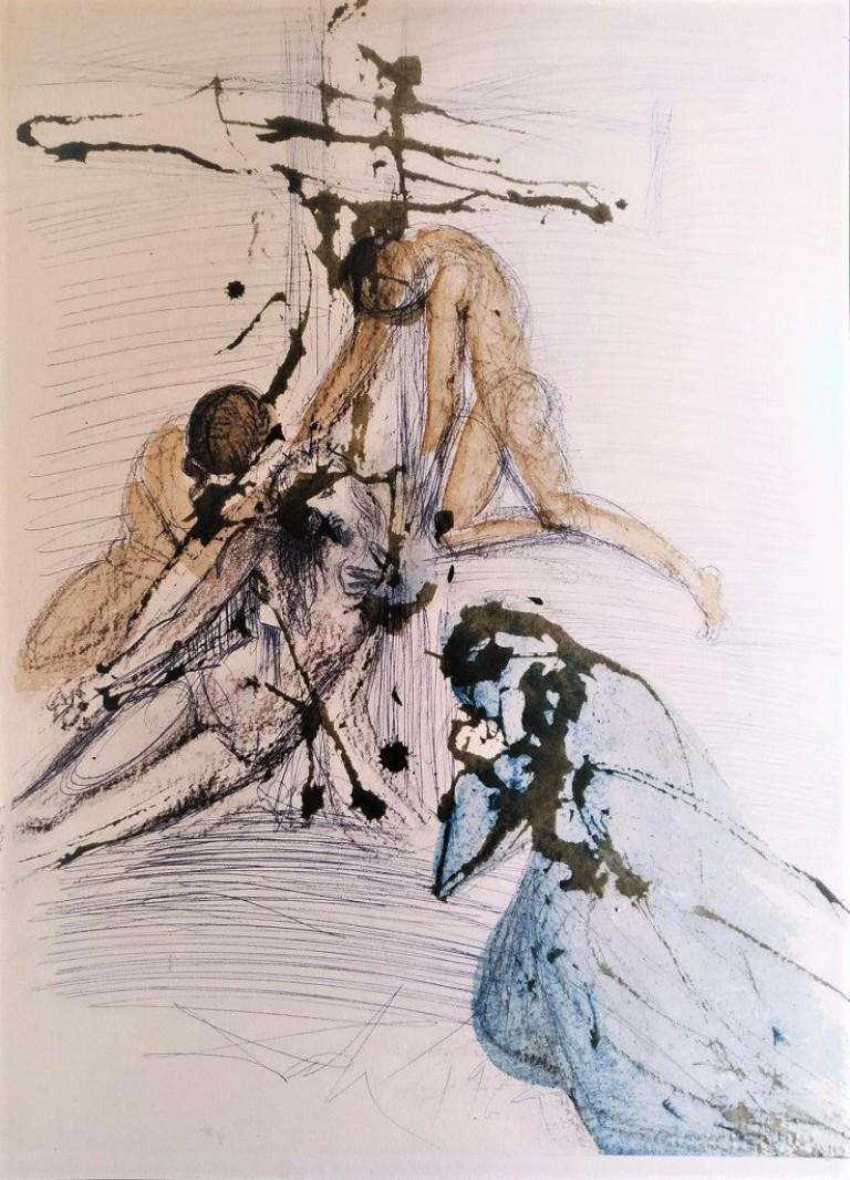 Salvador Dalí Abstract Print - De Cruce Depositio - Original Lithograph by S. Dalì - 1964