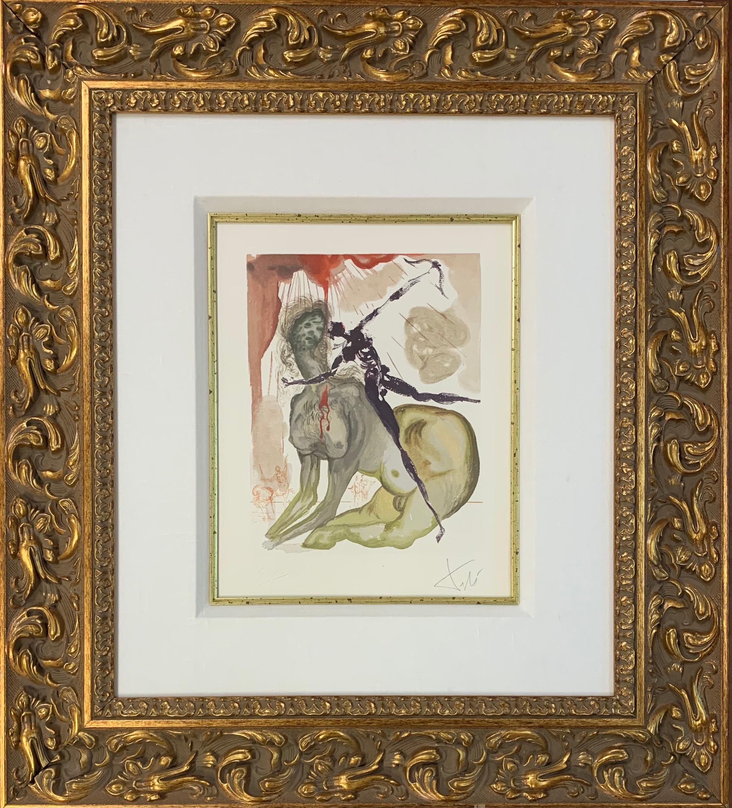 Divine Comedy, Inferno Canto 12, Original Surrealist Woodcut Print