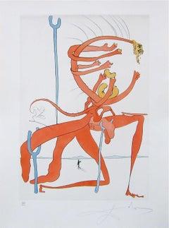 Figure Rouge avec Portrait de Quevedo Ltd Ed Salvador Dali - FULLY AUTHENTICATED