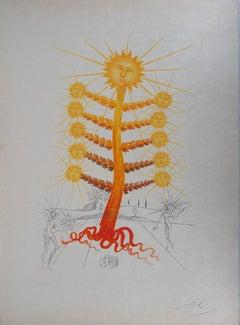 Flordali : Helianthus Solifer (Sun) - Original Etching, Handsigned (Field 68-3E)