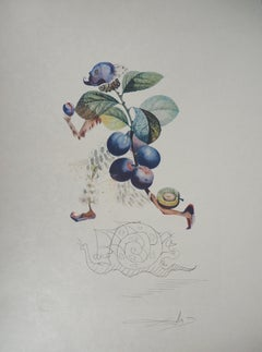 Flordali : Running Plum and Snail - Original Handsigned Etching (Field 69-11C)