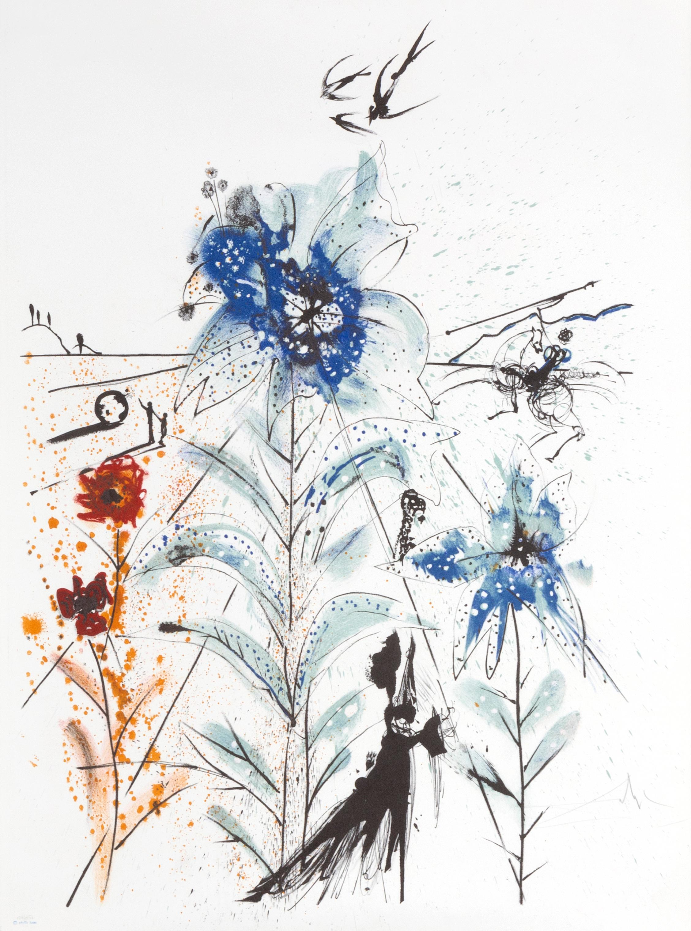 Flower Magician, Lithograph by Salvador Dali, 1972