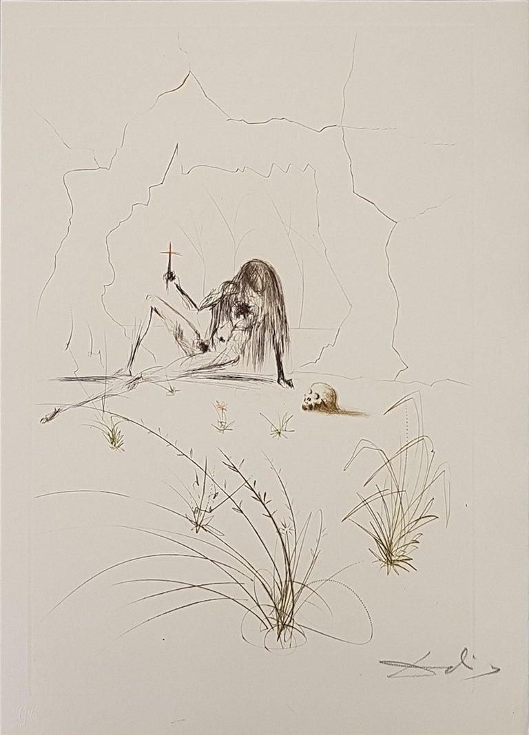 Salvador Dalí Print - Frère Ogrin, l'Ermite - Original Etching by S. Dalì - 1969