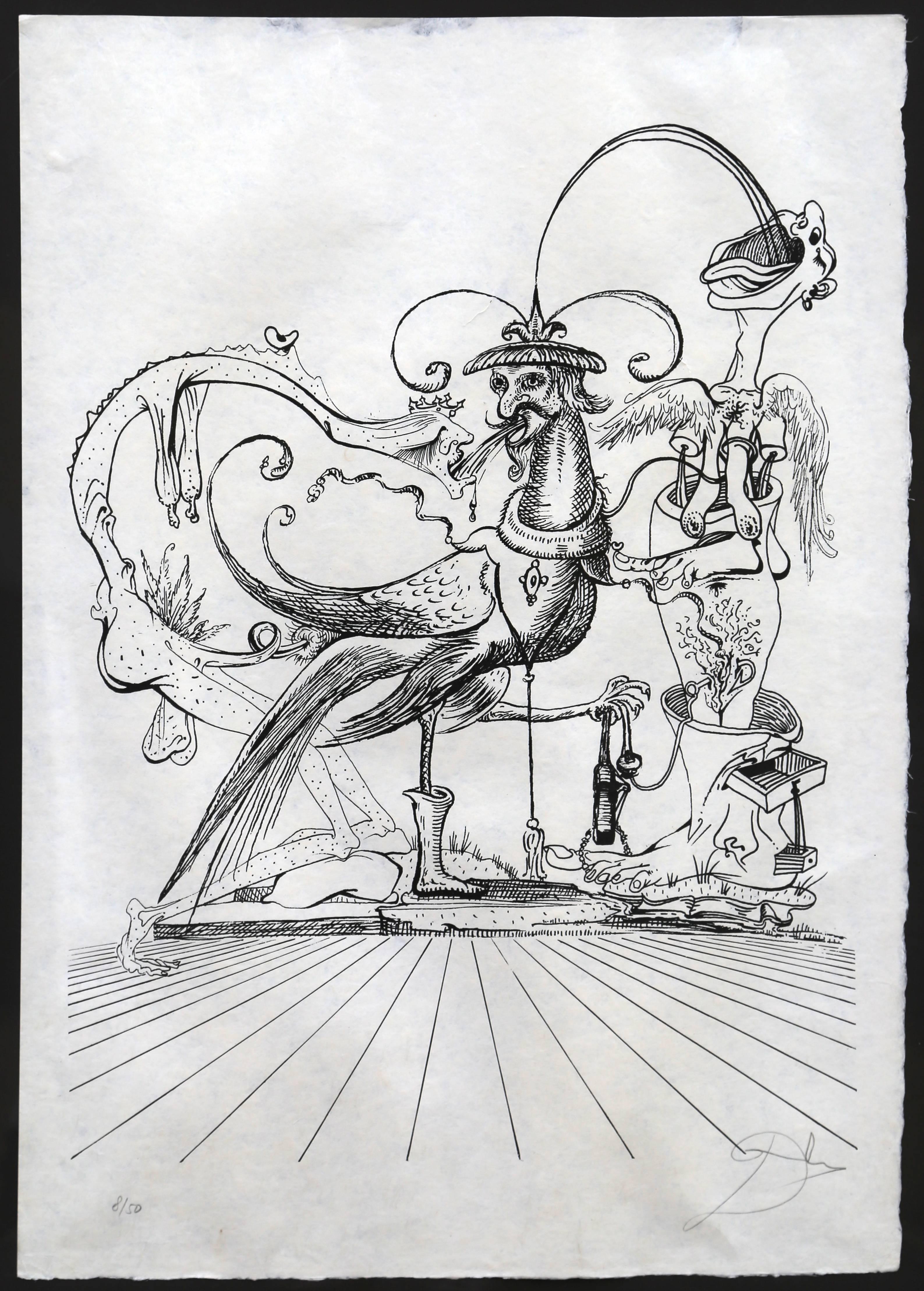 """From """"Les Songes Drolatiques de Pantagruel,"""" Lithograph on Japon, 1973"""
