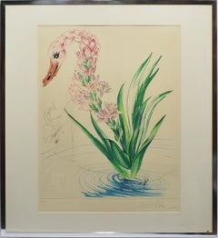 "Original etching and lithograph, ""Water Hibiscus Swan,"" hand signed and numbered"
