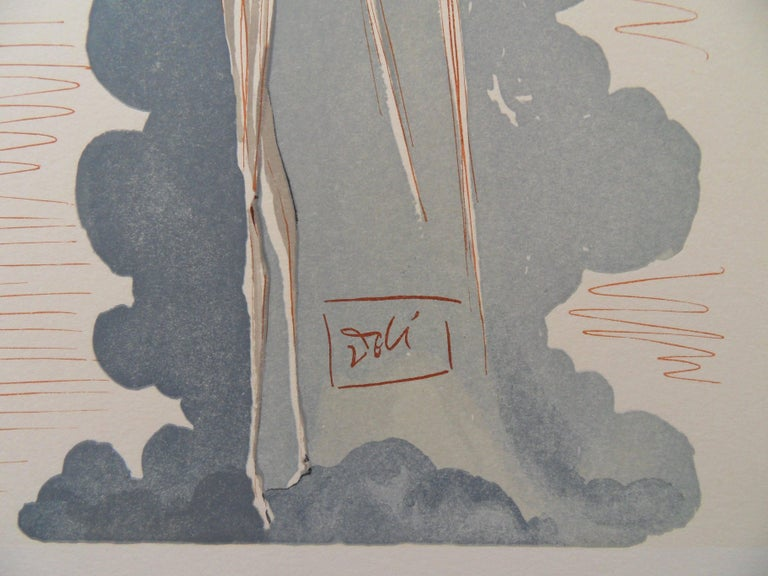 Heaven 22 - The Angel of the 7th Heaven - woodcut - 1963 - Gray Figurative Print by Salvador Dalí