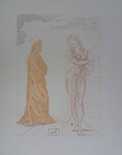 Hell 2 - Virgil consoles Dante - Original woodcut - 1963