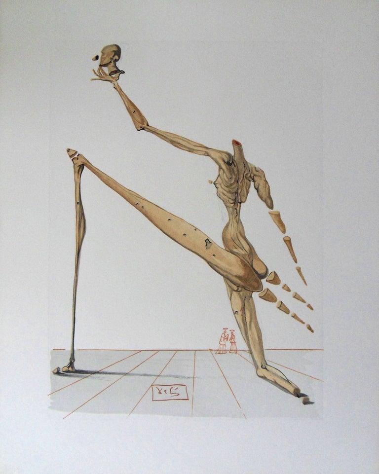 Salvador Dalí Figurative Print - Hell 28 - Bertran de Born - Color woodcut - 1963