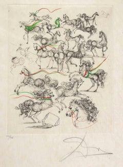Horses - Original Etching by Salvador Dalì - 1970s