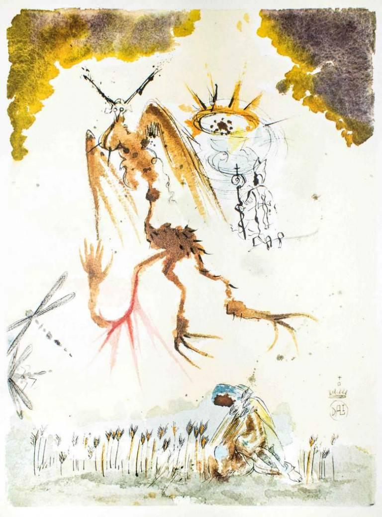 """Salvador Dalí Abstract Print - Illustration from """"Pater Noster"""" - Lithograph by Salvador Dali - 1966"""