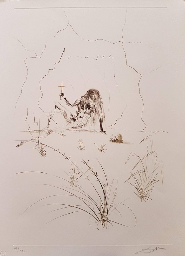 """Salvador Dalí Print - Plate from """"Tristan and Isolde"""": Frere Orgin, L'Hermite (Brother Orgin, Hermit)"""