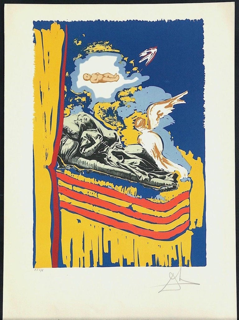 Immaculate Conception(Nine Of Swords) Signed Lithograph, Tarot Card, Surrealist For Sale 1