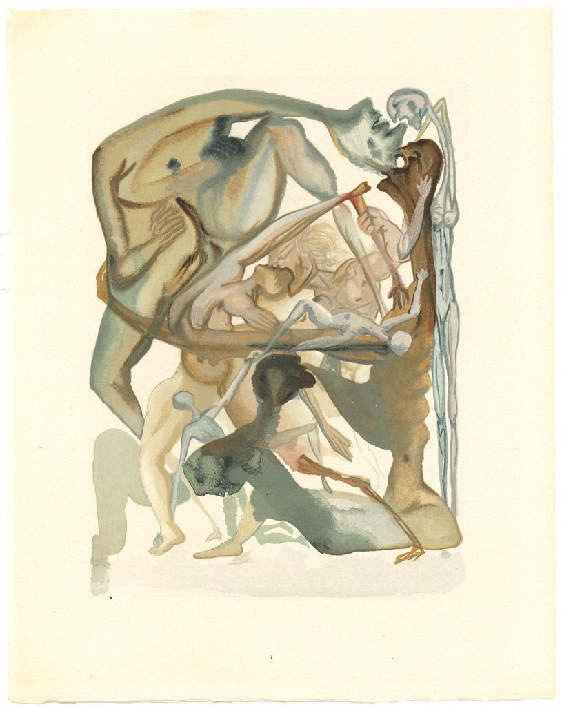 In Dark Limbo - Original Woodcut Print by Salvador Dalì - 1963
